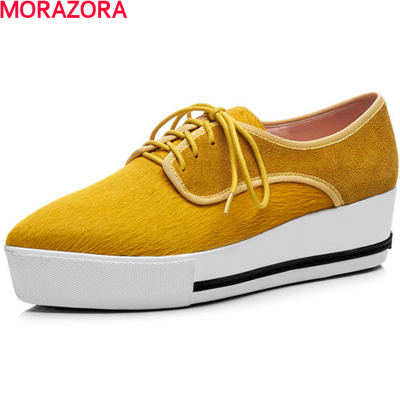 MORAZORA fashion simple horse hair med heels shoes lace up solid spring shoes leisure women shoes pumps size 34-40 hot sale morazora plus size 34 42 wedges shoes med heels 4 5cm round toe single shoes fashion lace up women pumps platform