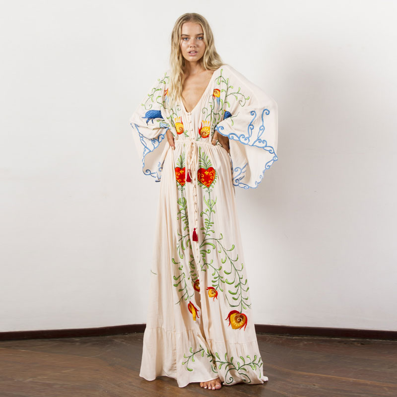 Summer new women's Bohemian travel holiday ultra long exquisite embroidery flower plus size dress retro fringed dress