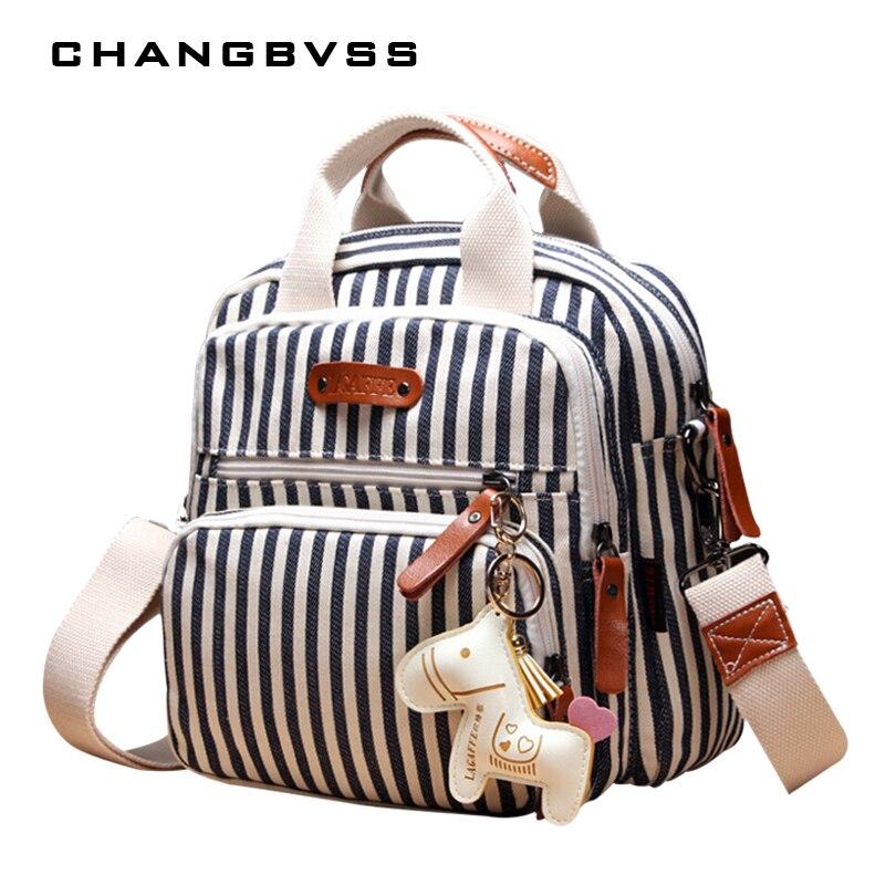 Marca multifunción bolsa de pañales mochila cuidado madre Hobos, cochecito de bebé bolsas de pañales para mamá con adornos caballo