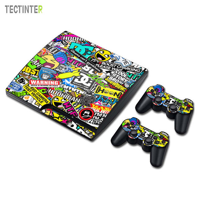BOMB Bombing Graffiti Sticker For PS3 Slim Playstation 3 Game Console Skin  Slim+2PCS Skins For PS3 Slim Controllers Accessory