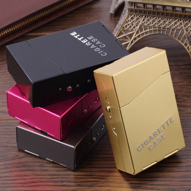 Case for Cigarette Metal Case Aluminum Cigar Cigarette Tobacco Holder Storage Case Pocket Box Able to Place in 20pcs Cigarette