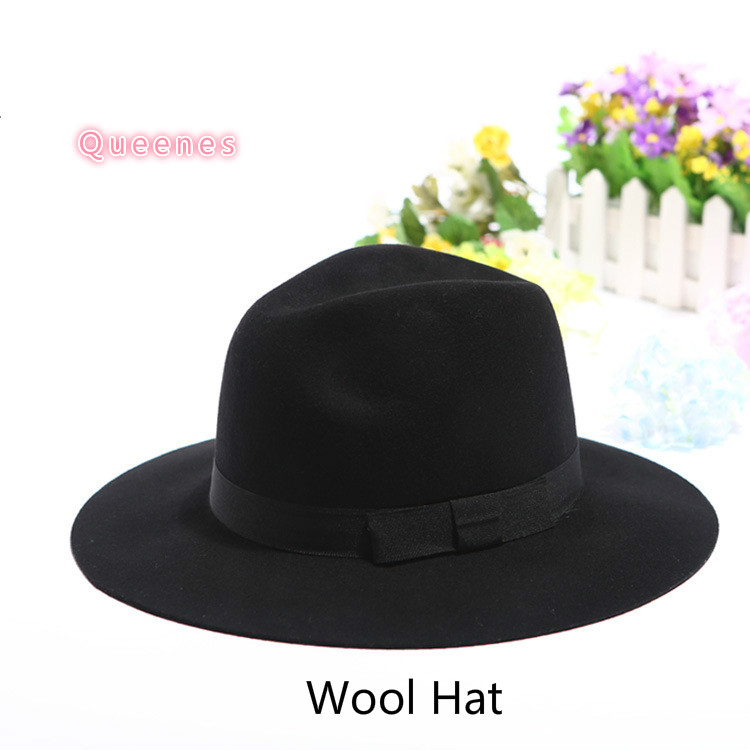 524ab5e9d7a European Plain Pattern Wool Felt Fedora Jazz Hat For Women Men Fashion Black  Camel Gray England Winter Autumn Falt Wool Hats
