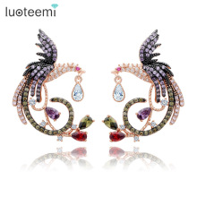 LUOTEEMI Teemi Jewelry Unique Design Luxury Rose Gold Plated Multi Cz Micro Pave Setting Phoenix Bird Stud Earrings For Women