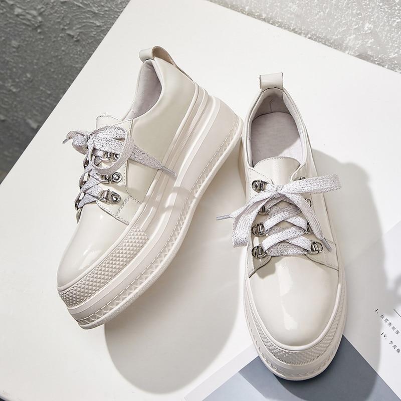 À Rond Automne En Chaussures White Femme Printemps Nouveau Lacets Plat Compensées Simple Asumer Milky black Femmes Semelles Cuir Bout Véritable Appartements Mode nw4xzqgI