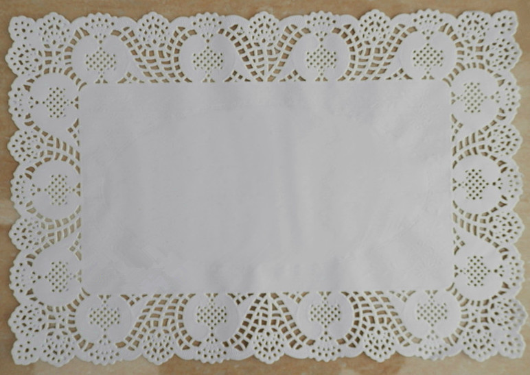 10*14.5 inches Rectangle White lace Paper Doilies Mat Grease-proof Pad Doyleys For Cake Cookie Biscuit