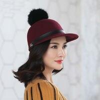 Beckyruiwu Woman Autumn And Winter Rabbit Fur Pompom Woolen Hat Lady Party Fashion 100 Wool Felt