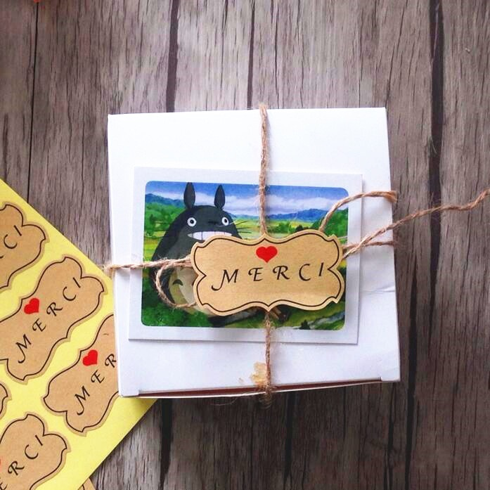 Купить с кэшбэком 80pcs/lot THANKS Series Kraft Adhesive Special-shaped Seal Sticker For Handmade Gift Baking Package Decoration Label Sticker
