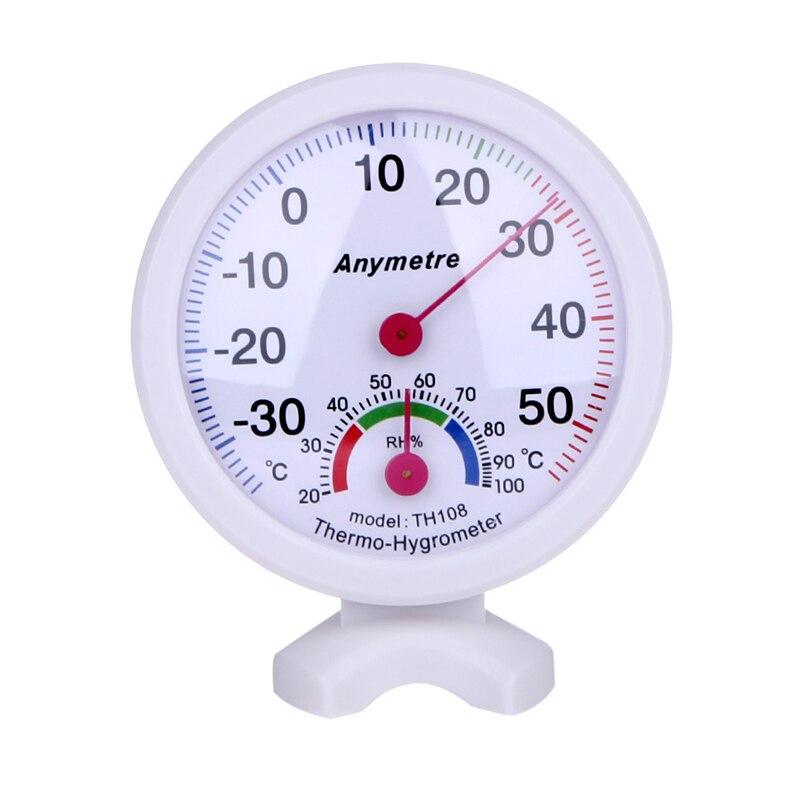 Высокое качество белый круглый цифровой In-Out Дверные рамы по Цельсию парниковых термометр гигрометр