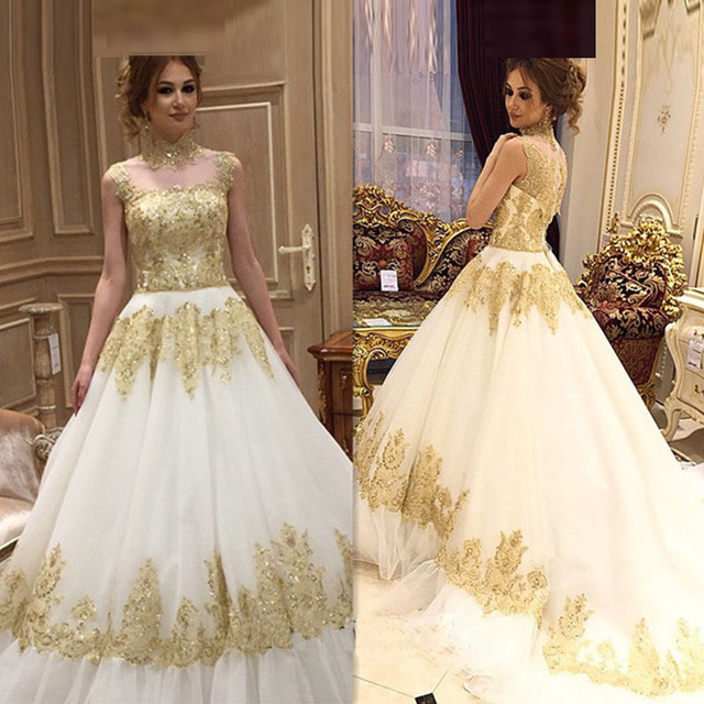 Robe De Marie Plus Size Maternity Wedding Dresses Arabic 2017 New Luxury  Gold Lace Appliqued Tulle High-Neck Ball Gowns Bridal ffad5bb9085b