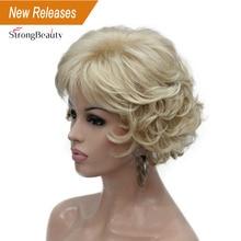 StrongBeauty peluca sintética para mujer, pelo corto rizado, Rubio/Peluca de Auburn