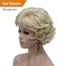 Strongbeauty peruca sintética cabelo curto encaracolado loira/auburn perucas femininas