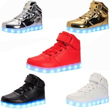 LED Light Shoes 2017 Fashion Men  Lighted Shoes for Adults USB Charging Colorful LED Light up Glowing Shoes size 35-46