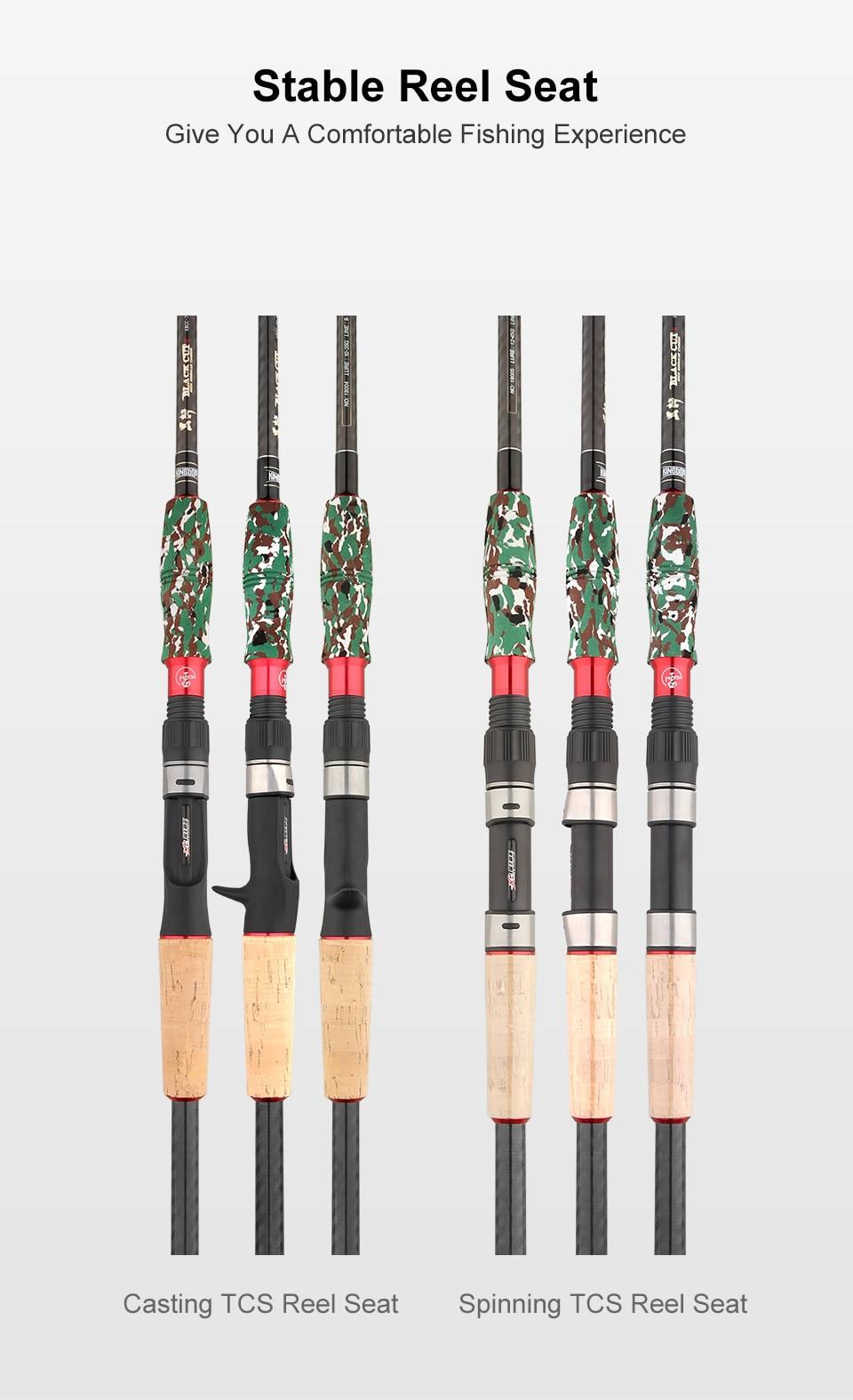 Kingdom Black Cut Spinning Casting Fishing Rod Carton MH, H Power Ultralight Telescopic Fishing Rods 2.39m, 2.49m Travel Rod (11)