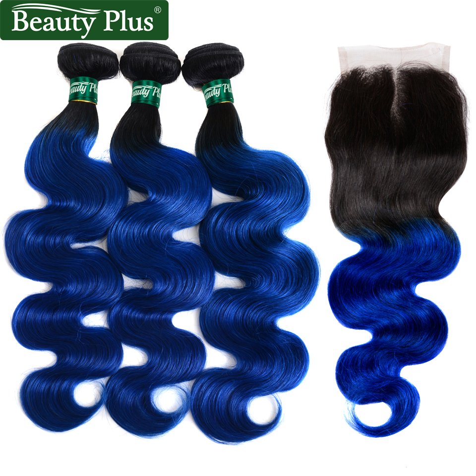 T1b/Blue 3 Bundles With Closure Brazilian Body Wave Beauty Plus Ombre Human Hair Extensions With Closure Medium Brown Non Remy