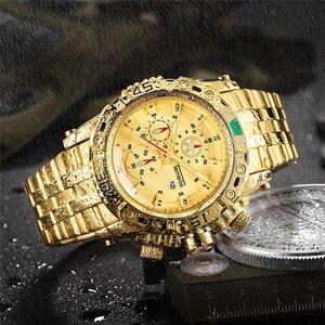 Image 2 - TEMEITE montre dorée pour homme calendrier acier inoxydable Quartz montre bracelet hommes mode grandes montres haut de gamme horloge de luxe