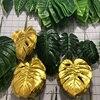 Hojas de simulación dorada para mesa Aloha Luau, hojas persas artificiales con temática de jungla creativa de verano, decoración de fiesta de Navidad, 3 uds.
