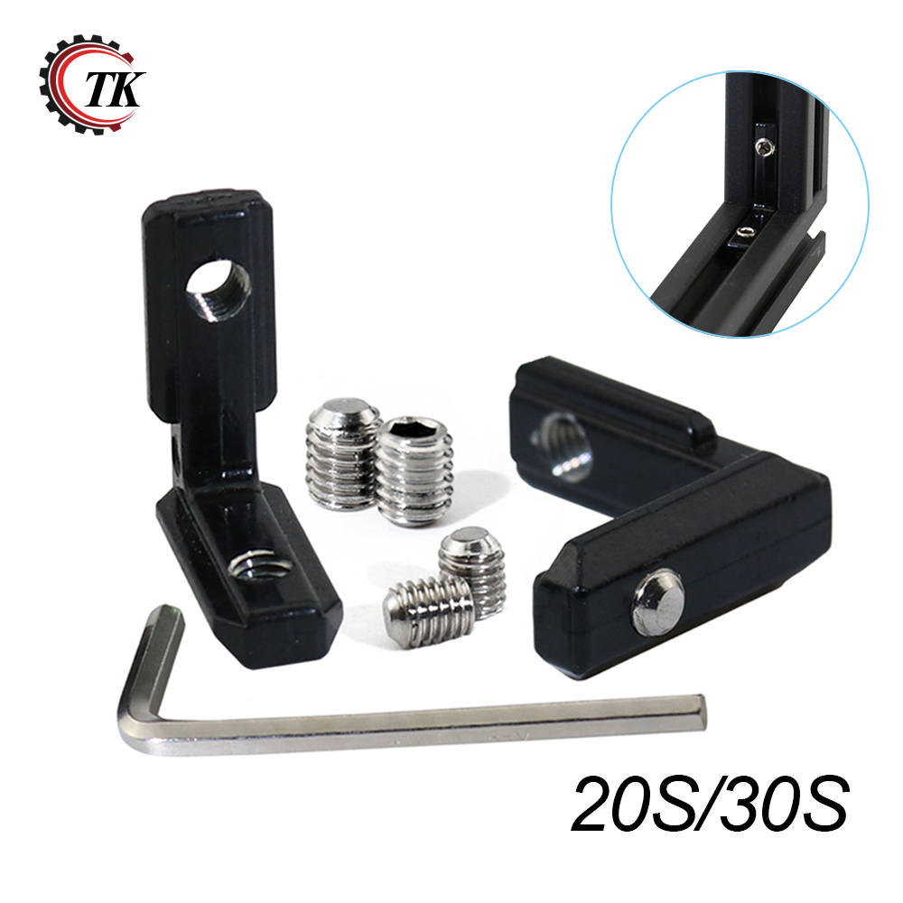 20pcs Black L Shape Inner Corner Connector Joint Bracket with Screw and Wrench for 2020 3030 Aluminum Extrusion Profile цена