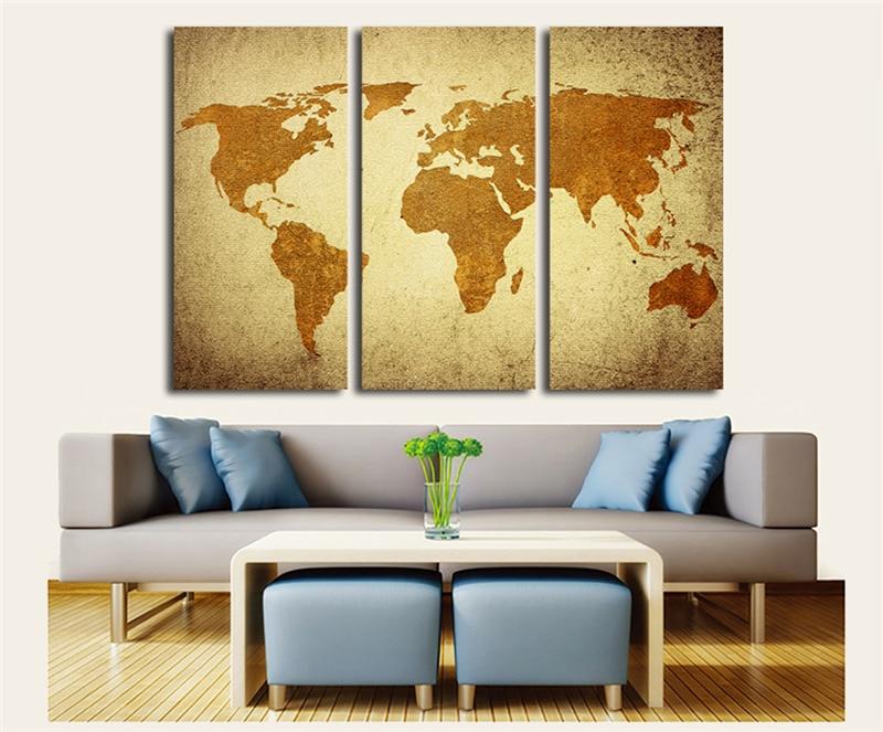 US $17.01 |3 Stücke Leinwand Ölgemälde Vintage World Map Wall art für  Wohnzimmer Retro Gelb Karten Malerei Wandbilder Home dekoration-in  Wandaufkleber ...