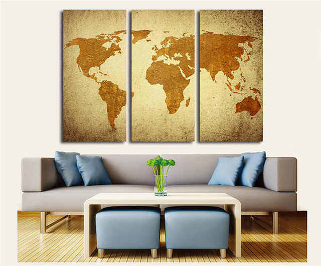 3 Pcs Canvas Oil Painting Vintage World Map Wall Art for Living Room ...