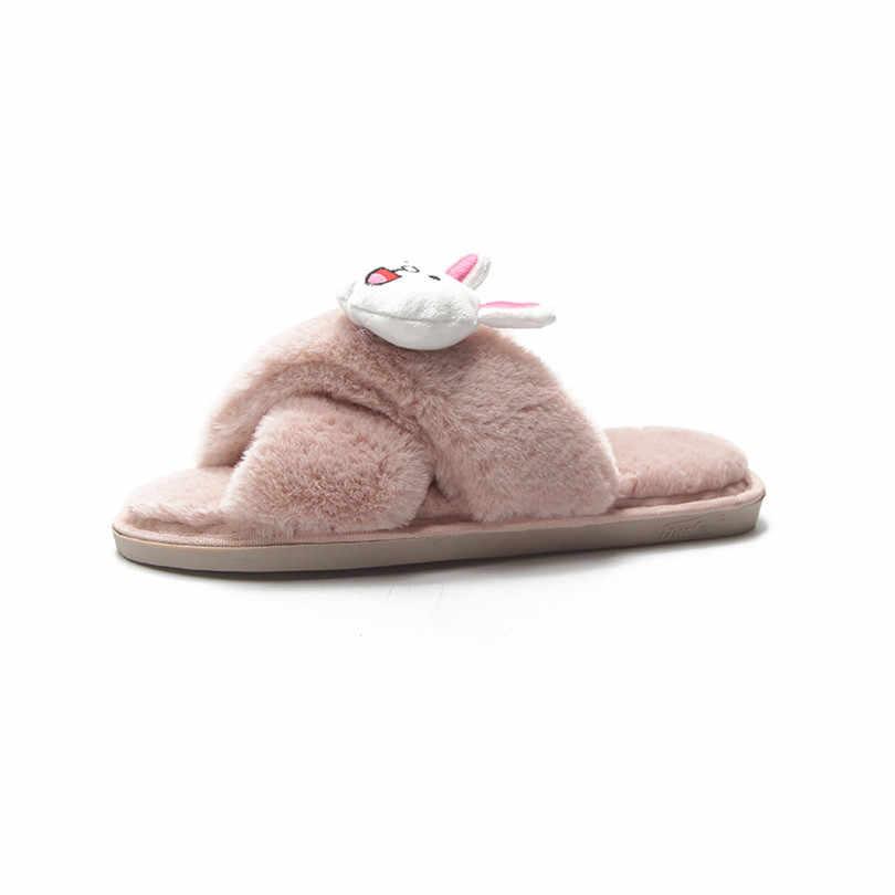 Lin Koning Leuke Cartoon Vrouwen Indoor Slippers Met Faux Fur Warm Winter Thuis Schoenen Misstap Slides Anti Slip Flats schoenen Big Size