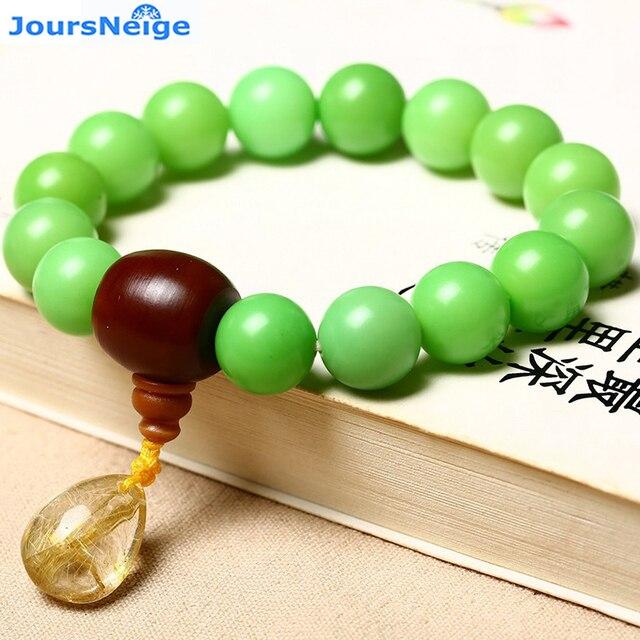 JoursNeige Green Bodhi root Bracelet Gold hair Crystal Water Drop Pendant Beads 12mm Bodhi Prayer Japa Mala Jewelry Accessories