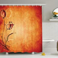 Cortina de ducha antigua, fondo envejecido Vintage con la silueta de Rosa Bloom imagen Digital, decoración de tela para Baño