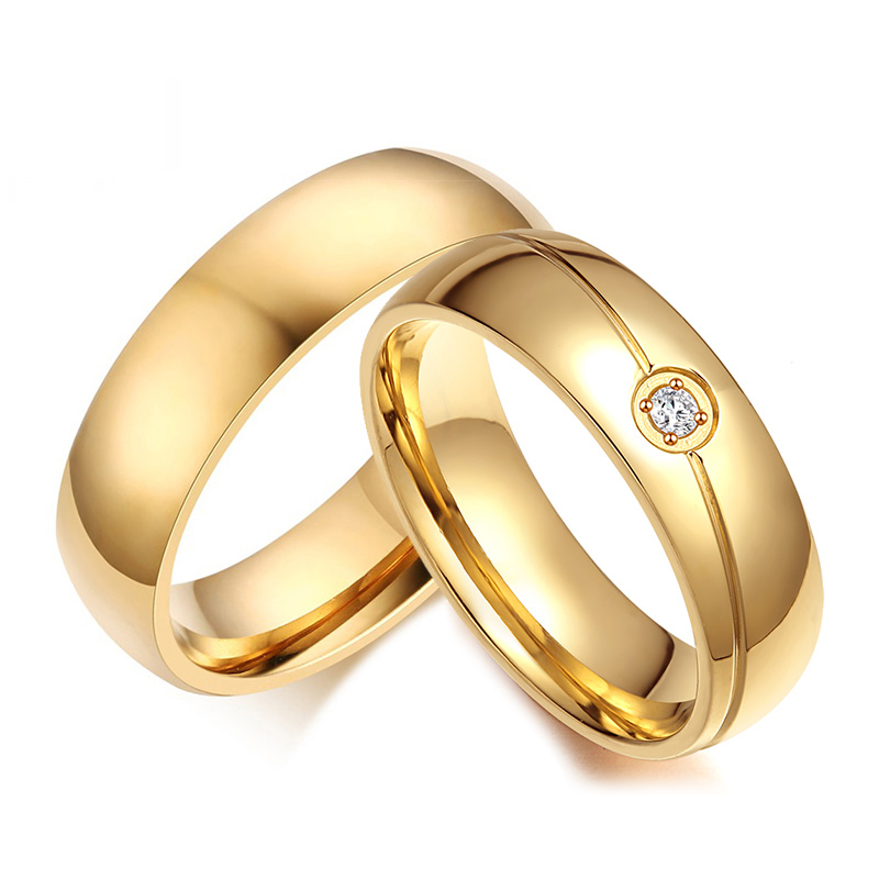 Simple Gold Color Stainless Steel Couple Rings Cz Stones Wedding Rings For Women Men Anniversary Alliance Jewelry Wedding Bands Aliexpress