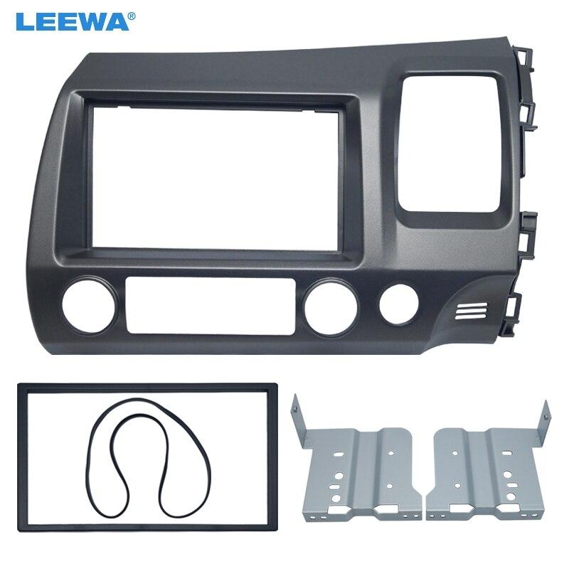 Kit de montage d'adaptateur de cadre de panneau de Fascia Audio DVD/CD de voiture LEEWA pour Installation de cadre de plaque stéréo Honda CIVIC (RHD) 2DIN