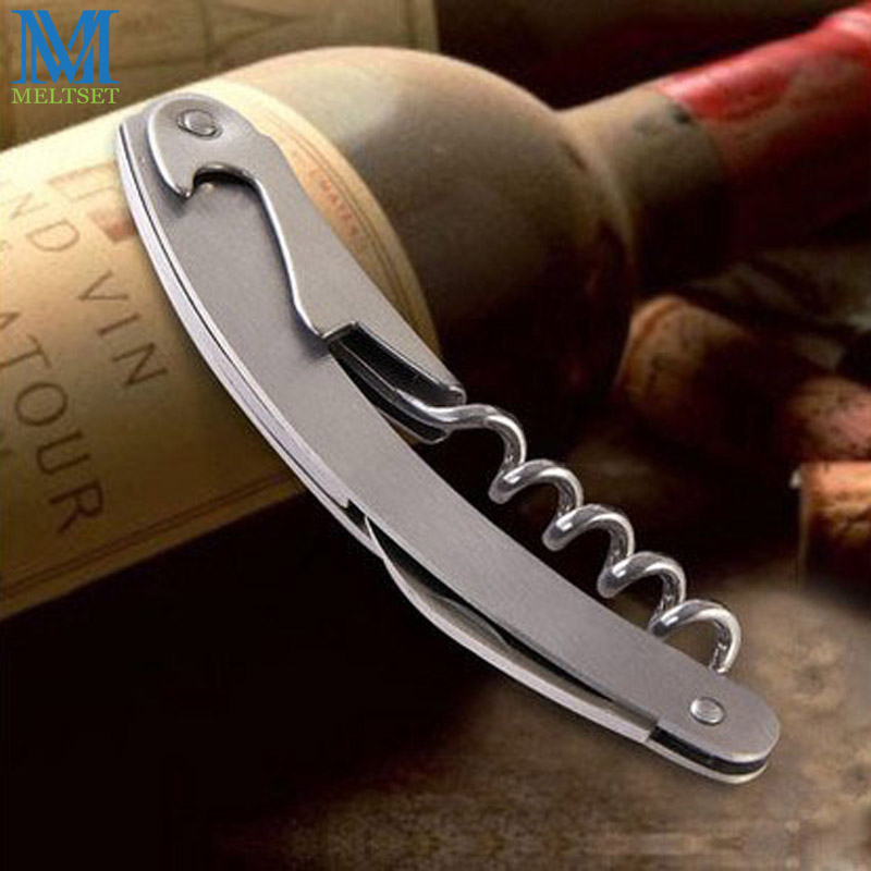 Professional Wine Opener Stainless Steel Portable Screw Corkscrew Wine Bottle Opener With Folding Knife