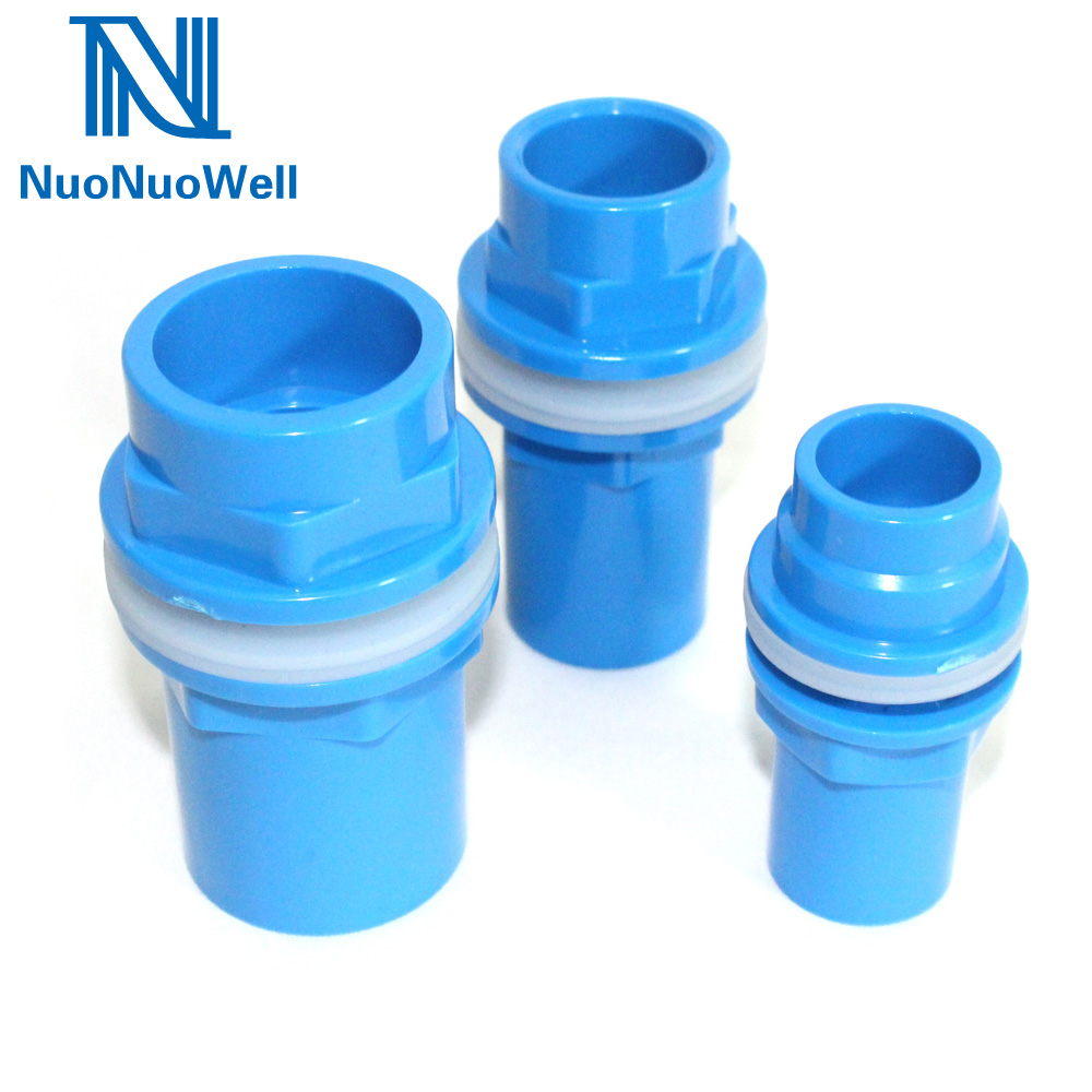 NuoNuoWell 20/25/32/40mm Blue BulkHead Aquarium Marine Pipe Fitting Connector Waterproof PVC Connector Water Tank Outlet