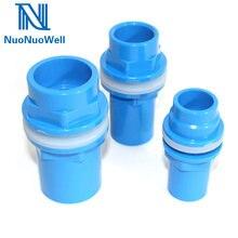 Nuonuowell conector de água para aquário, conector azul de 20/25/32/40mm para montagem de tubulação, à prova d' água e pvc saída do tanque