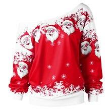 c57c176ca6dfc Kenancy Plus Size Christmas Santa Claus Print Sweatshirt Women Hoodies Skew  Neck Casual Sweatshirts Feminino Loose