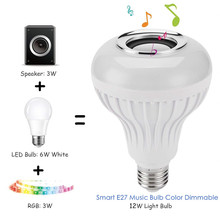 цена на DZLST Bluetooth Speaker Smart LED Bulb E27 RGB Light 12W Music Playing Dimmable Wireless Led Lamp with 24 Keys Remote Control