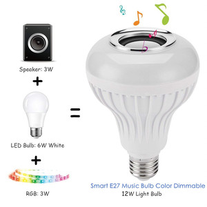 Image 2 - DZLST Bluetooth Speaker Smart LED Bulb E27 RGB Light 12W Music Playing Dimmable Wireless Led Lamp with 24 Keys Remote Control