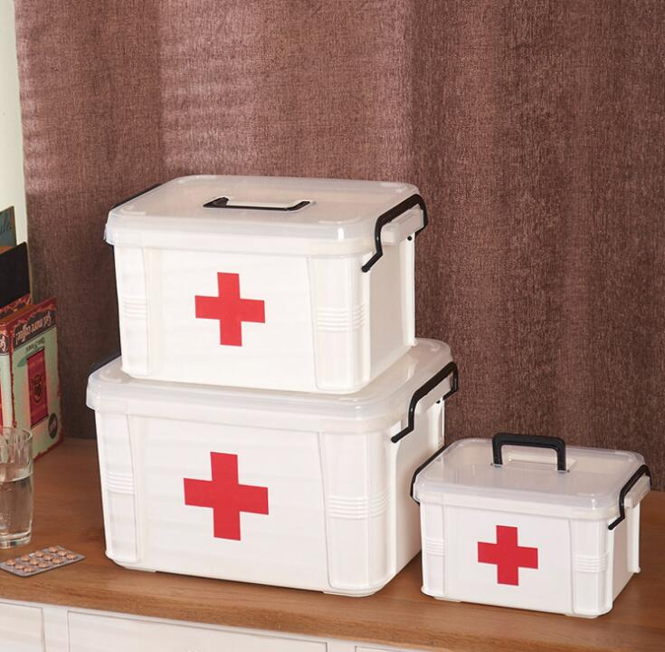 CXB41-de gran tamaño medicina caja gruesa multicapa kit médico niño Primeros Auxilios Medicina familiar caja de almacenamiento caja
