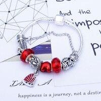 SPC Fran Fashion Heart Key Tortoise Charm Bracelet Blue Crystal Glass Beads Bracelets & Bangles for Women Jewelry Gift