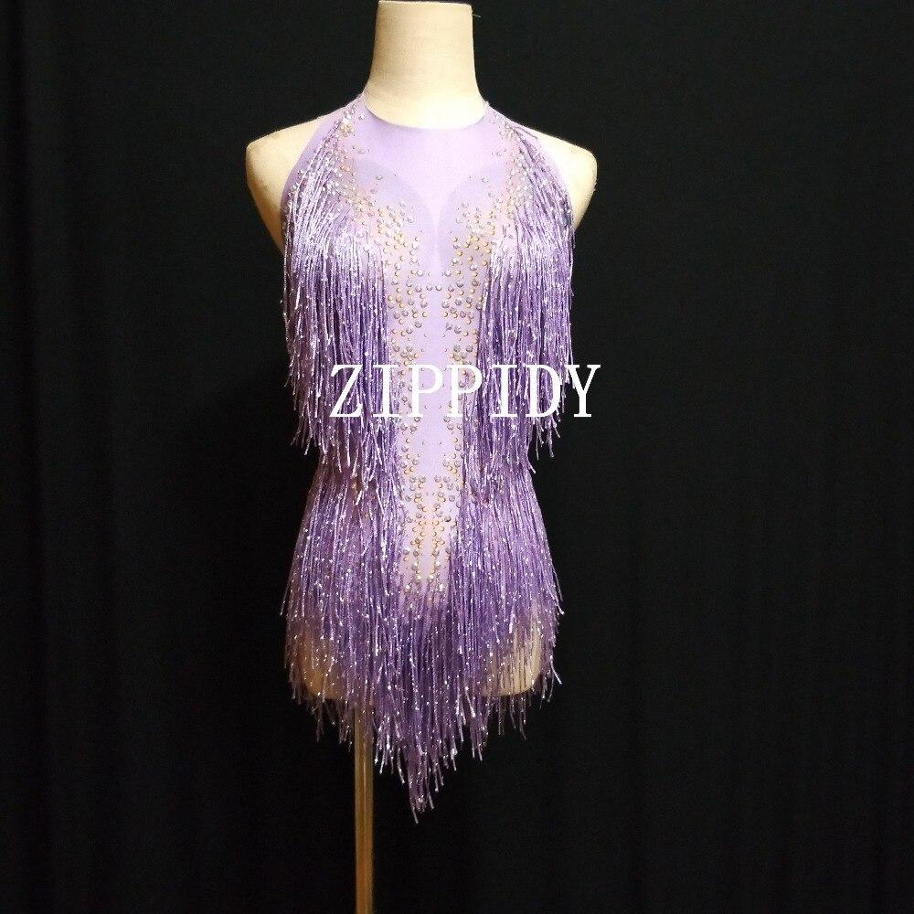 Fashion Fringes Design Red Bodysuit Dance Costume Women's  Performance Rhinestones Leotard Female Singer Dance Show clothing