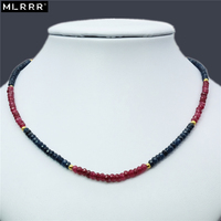 Vintage Classic Natural Stone Jewelry Delicate 3 5mm Rubies Sapphires Beaded Chain Choker Necklace 46 5cm
