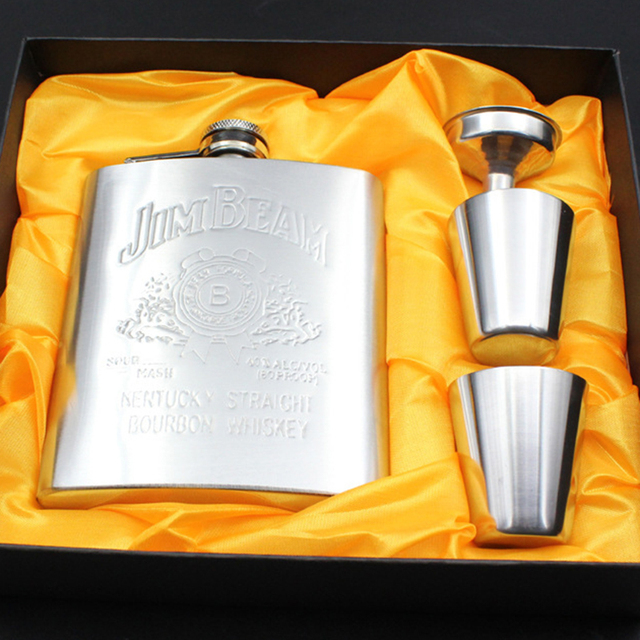 Luxury Stainless Steel Hip Flask Set 7oz Embossed Flagon Flasks Russian Wine Beer Whiskey Bottle with Liquor Screw Cap + Funnel