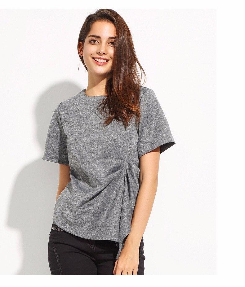 Short Sleeve O-Neck Irregular Pleated Top T-shirt 2
