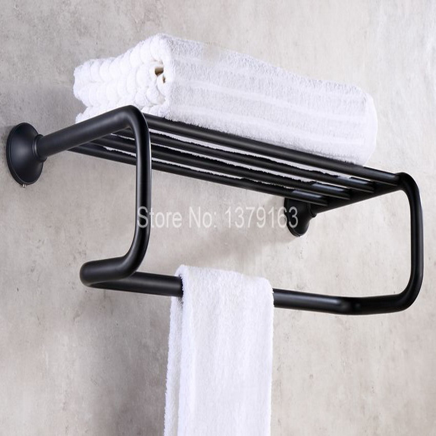 Black Oil Rubbed Brass Bathroom Accessory Wall Mounted Bathroom Large Towel Rail Holder Rack Bar Shelf aba851 allen roth brinkley handsome oil rubbed bronze metal toothbrush holder