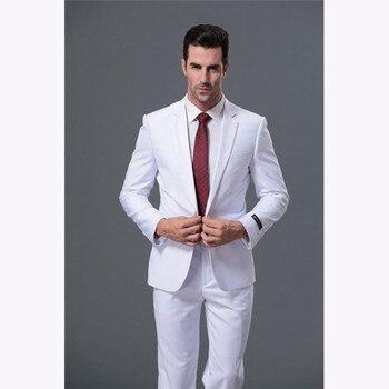 Custom made Mens Suits Fashion Fit Business men suit Tuxedo 2017 costume homme white Wedding Suits Blazers for men (Jacket+Pant)