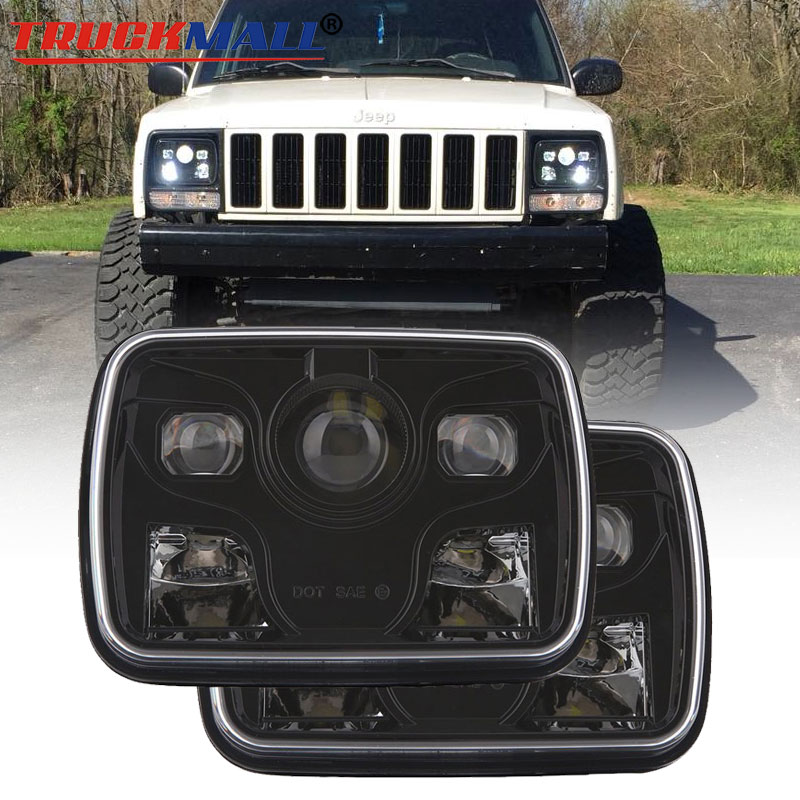US $139 12 7% OFF|For Jeep Cherokee XJ 5x7Inch LED 12V 24V Headlights  Replacement 6x7 LED Truck Sealed Beam Square Projector Headlamp Lighting-in  Car