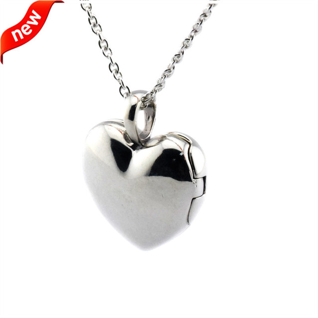 DIY Fits Europe Brand Silver Love Locket Pendents and Necklaces for Women with Clear CZ 925 Sterling Silver Jewelry FLN15023