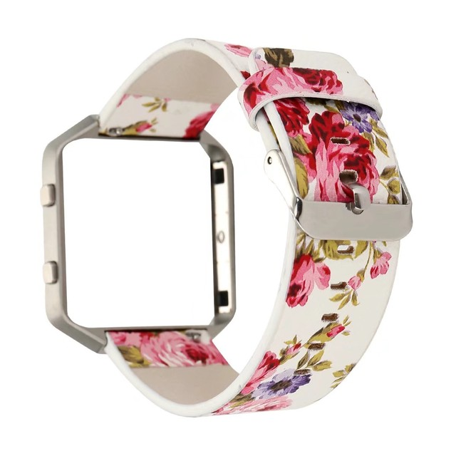 Colorful Flower Genuine Leather Strap For Fitbit Blaze Band Floral ...