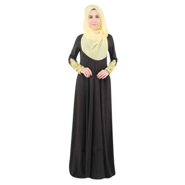 Muslim Women Fashion Long Dress Lace Sleeve Slim Dresses World Apparel