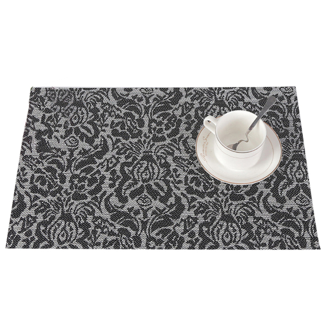Attractive 4pcs/lot Classic Weave Floral Dining Table Mats Rectangle Placemat Bowl Pad  Cup Coasters Hotel