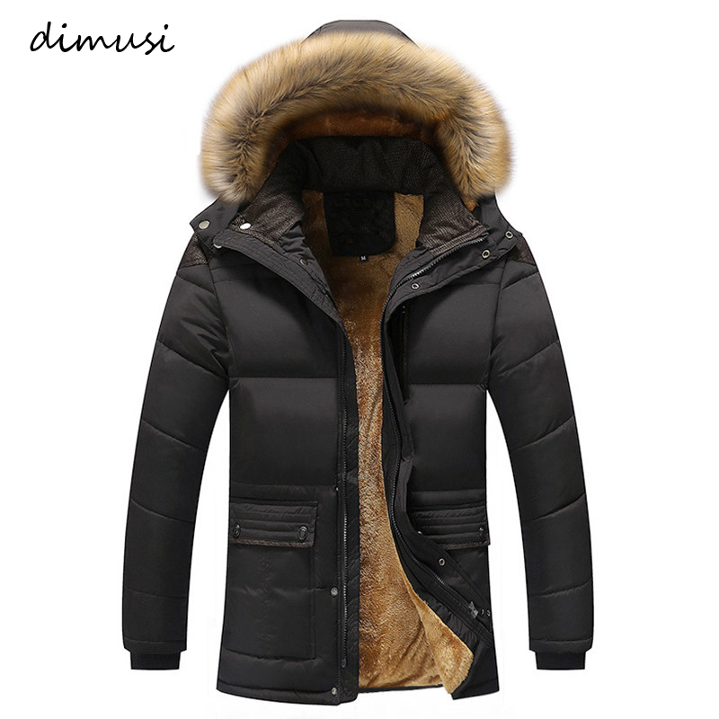 DIMUSI Winter Men Thick Warm Jacket Male Cotton Fluff Lining   Parkas   Male Casual Faxu Fur Collar Windbreaker Hoodies 5XL,TA237