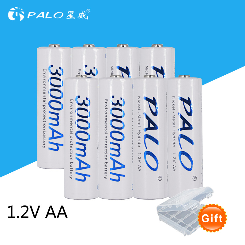 8pcs/2card PALO AA Rechargeable Battery AA NiMH 1.2V 3000mAh Ni-MH 2A Pre-charged Bateria Rechargeable Batteries for Camera