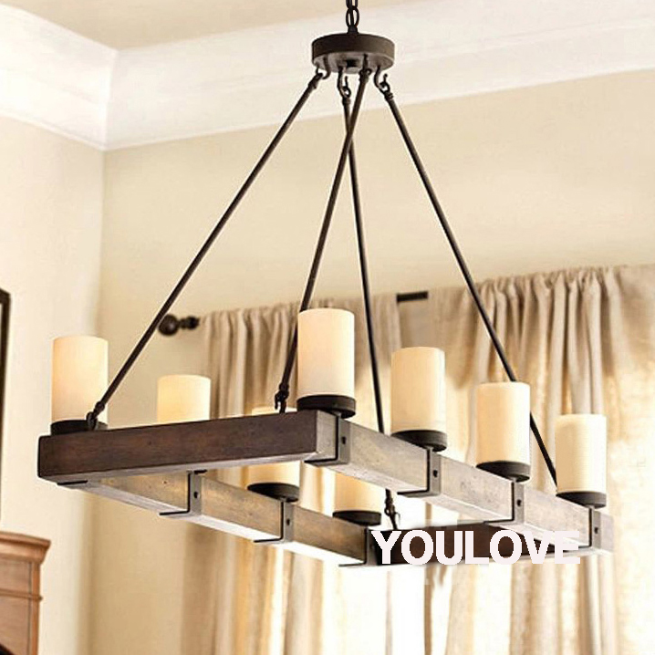 American Country Vintage Pendant Lights Fixture Rectangle Candle Wooden Droplight Restaurant Dining Room Home Indoor Lighting In From